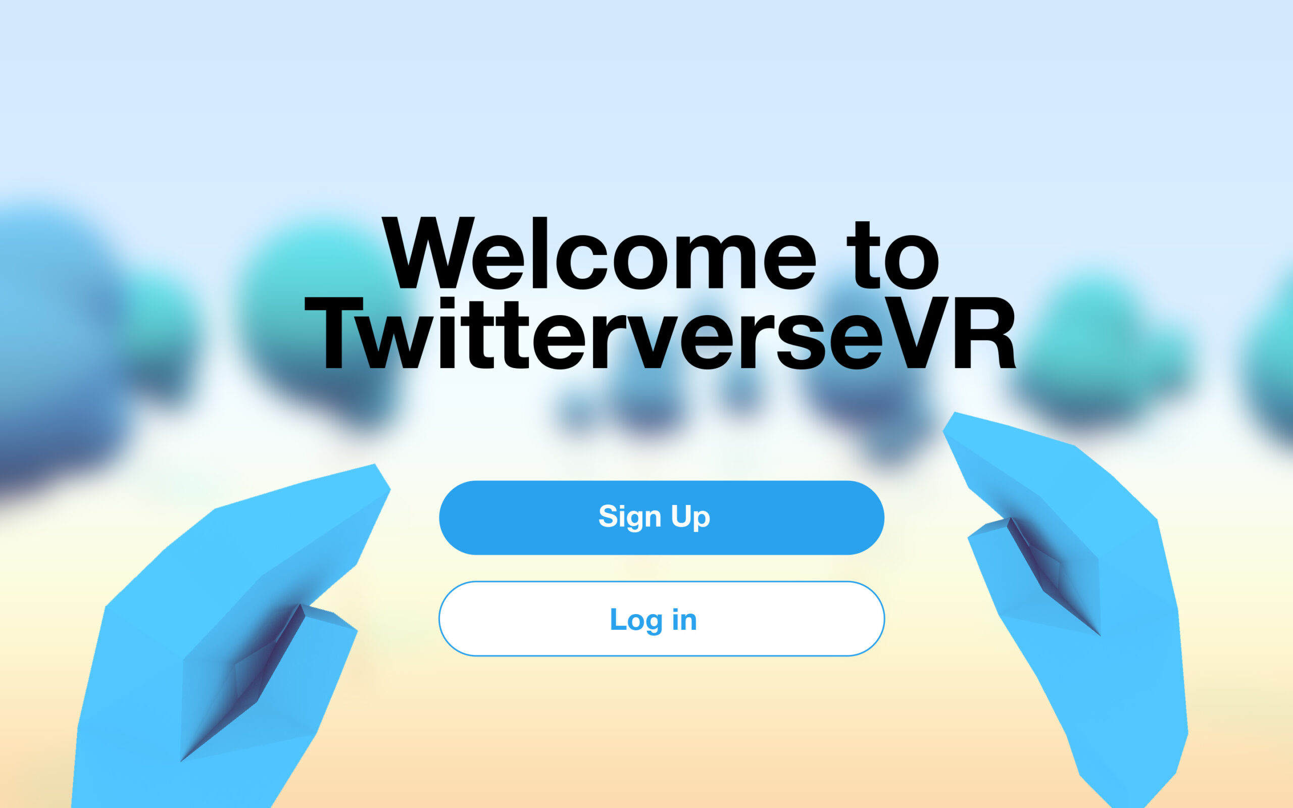TwitterverseVR Home screen.